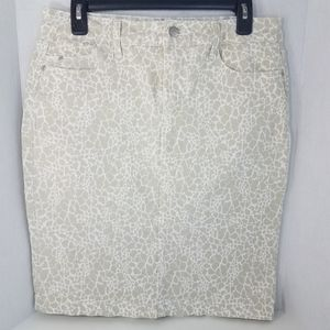 NYDJ Lift Tuck Leopard Print Skirt Cotton Spandex